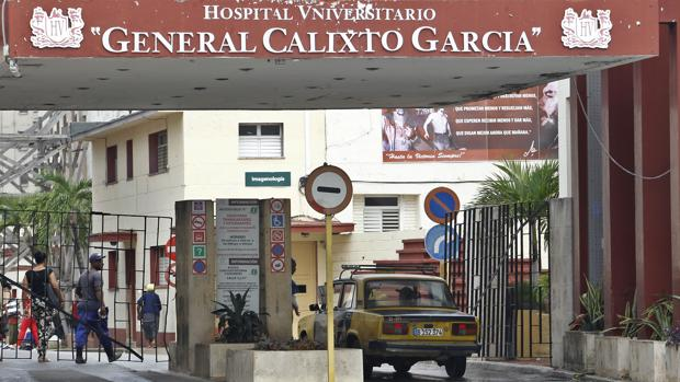 Entrada del hospital Calixto García de La Habana, en el que estaban ingresadas las tres supervivientes, de las qeu solo sigue con vida un ajoven de 19 años