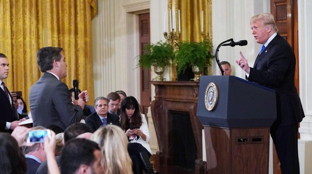 El presidente de Estados Unidos, Donald Trump, durante su encontronazo con el periodista de la CNN
