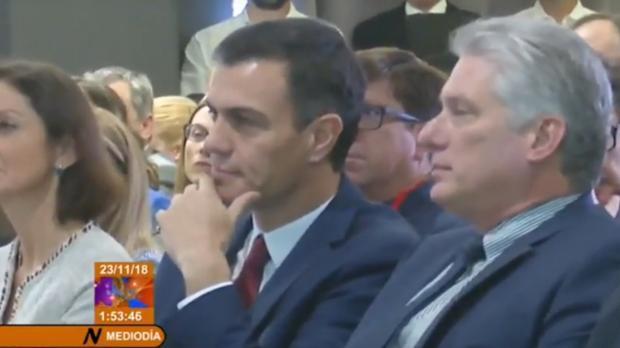 Pedro Sánchez y Miguel Díaz-Canel, en una imagen del Noticiero de la Televisión Cubana