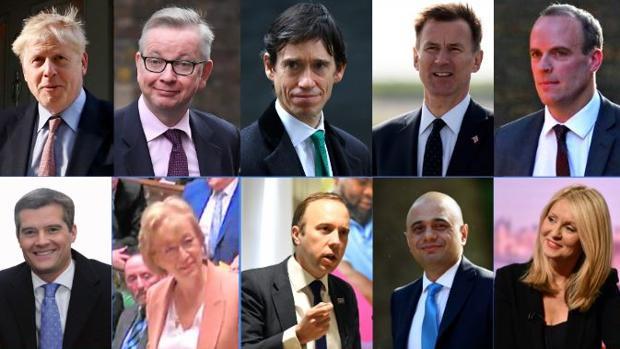 De izquierda a derecha, en la fila superior: Boris Johnson, Michael Gove, Rory Stewart, Jeremy Hunt y Dominic Raab. En la fila de abajo: Mark Harper, Andrea Leadsom, Matt Hancock, Sajid Javid y Eshter McVey