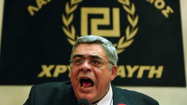 Nikos Mijaloliakos, líder de Amancer Dorado, el pasado 6 de julio