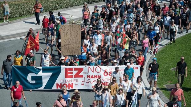 La manifestación contra el G-7 con la presencia exclusiva de los proetarras, sin incidentes