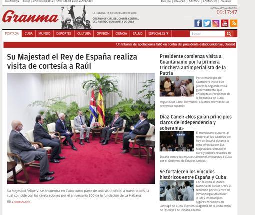 Captura de la portada del diario «Granma» en su edición digital ayer viernes