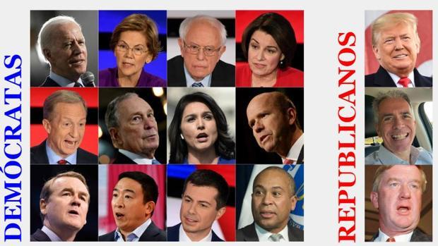 Los candidatos demócratas y republicanos a las elecciones de EE.UU. 2020, uno a uno