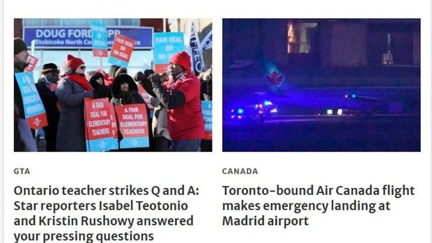 Los medios canadienses alertan del aterrizaje de emergencia del avión de Air Canada en Madrid