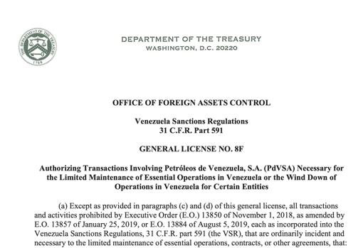 Licencia emitida por EE.UU. el 21 de abril de 2020.