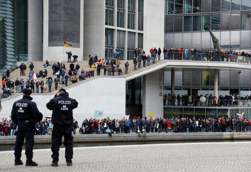 Protesters outside the Reichstag in Berlin