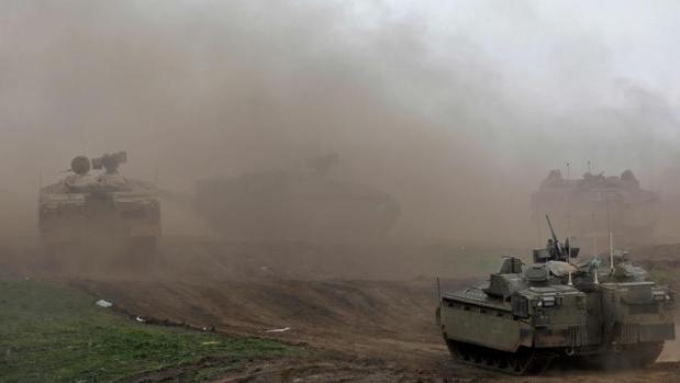 Tropas israelíes, en un entrenamiento militar en los Altos del Golán