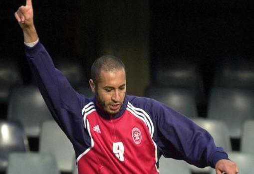 Saadi Gadafi durante el entrenamiento con el equipo de Al-Itthad