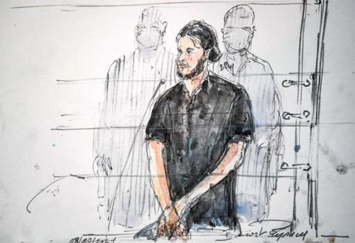 Court sketch made on September 8, 2021 shows Salah Abdeslam