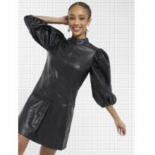 Vestido corto negro con manga extremada de cuero sintético Idol de Topshop.