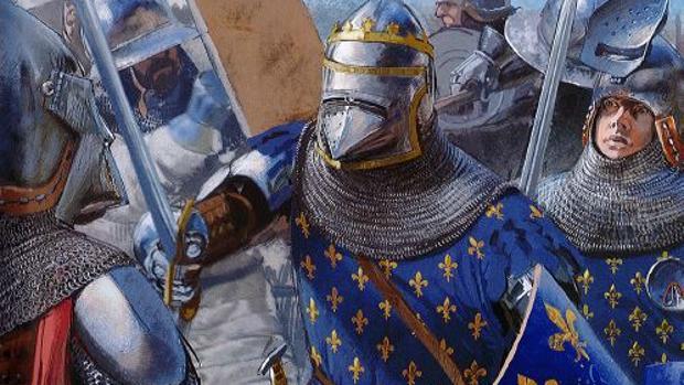 El rey Juan II de Francia, acompañado por su hijo menor, el infante Felipe, en la batalla de Poitiers