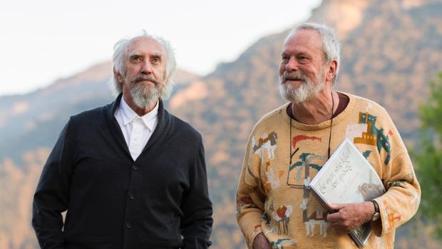 Terry Gilliam y Jonathan Pryce, durante el rodaje de «El hombre que mató a Don Quijote»