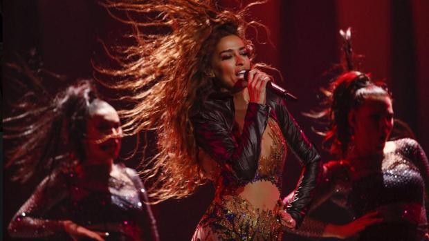 La representante de Chipre de Eurovisión 2018 durante su actuación en la primera semifinal