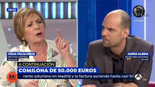 Celia Villalobos y Adriá Alsina en «Espejo público de verano»
