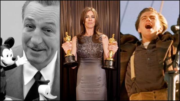 De izquierda a derecha: Walt Disney junto a Mickey Mouse y el Pato Donald; la directora de cine Katheryn Bigelow ; y Leonardo DiCaprio en «Titanic»