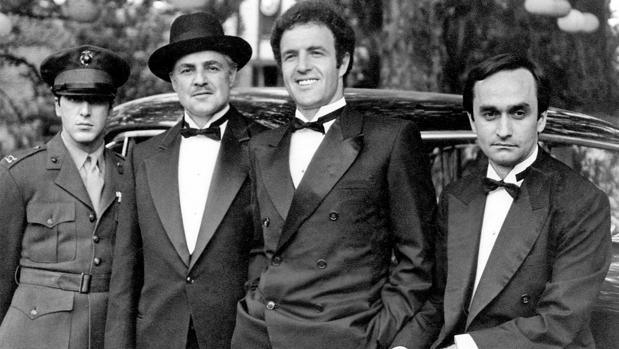 Al Pacino, Marlon Brando, James Caan y John Cazale en el rodaje de El padrino de 1972