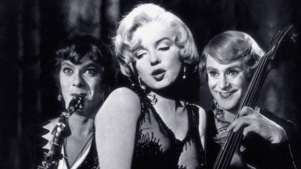 Curtis, Marilyn Monroe y Jack Lemmon en «Con faldas y a lo loco»