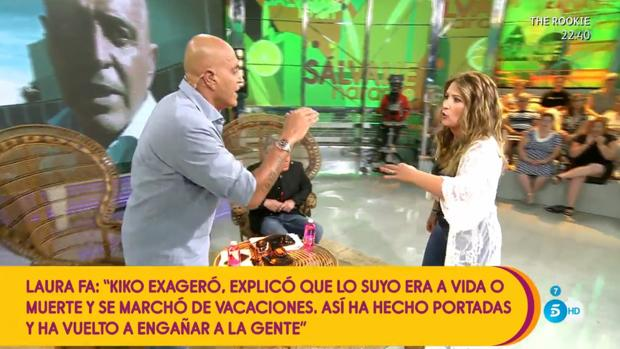 Kiko Matamoros y Laura Fa en su enfrentamiento en «Sálvame»