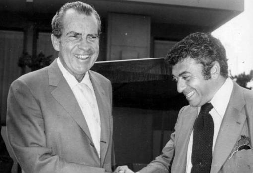 Richard Nixon (left) and Tico Medina (right), during the ABC journalist's visit to the United States in the early 1970s