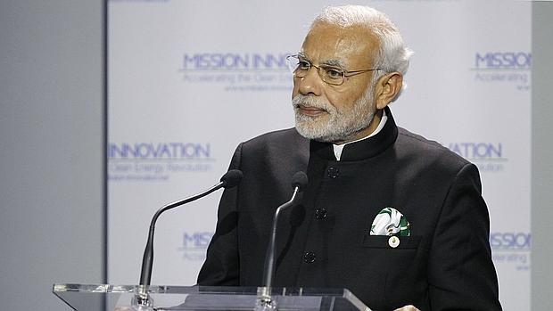El Primer Ministro de India, Narendra Modi, en la conferencia COP21, este lunes