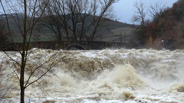 El río Arga, desbordado hoy en Navarra, donde el asesino confeso arrojó el domingo presuntamente su mensaje