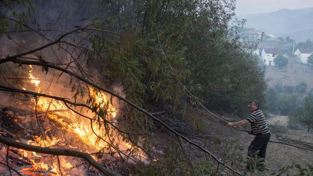 Un vecino del pueblo de Queirugás, en Ourense, trata de apagar las llamas del incendio forestal