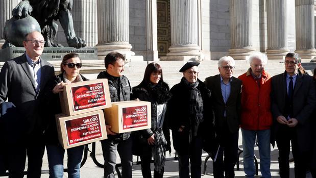 Familiares de enferemos que apoyan la eutanasia entregaron ayer firmas en el Cogreso, apoyados por los diputados socialistas Patxi López y Jesús María Fernández