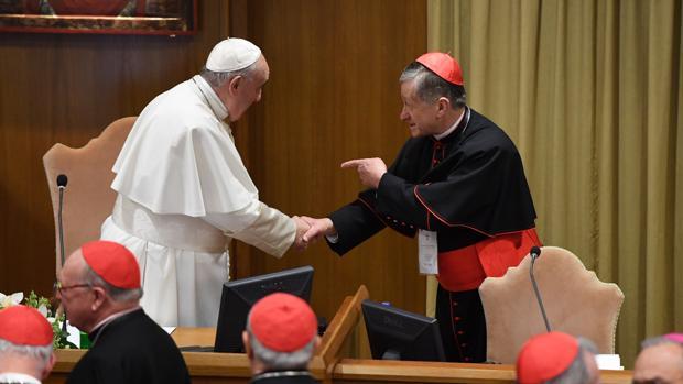 Francisco saluda al cardena arzobispo de Chicago, Blase Cupich, durante la cumbre antipederastia