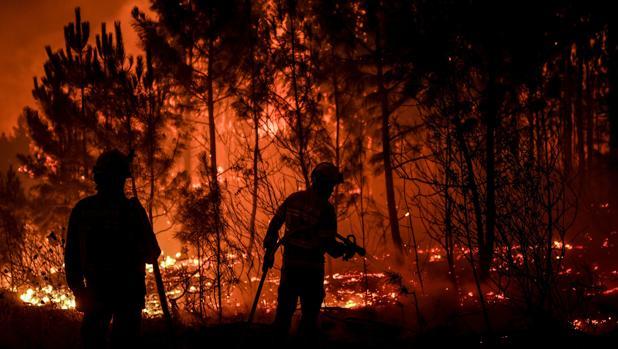 Bomberos intentan apagar las llamas en la localidad de Cardigos, en el centro de Portugal