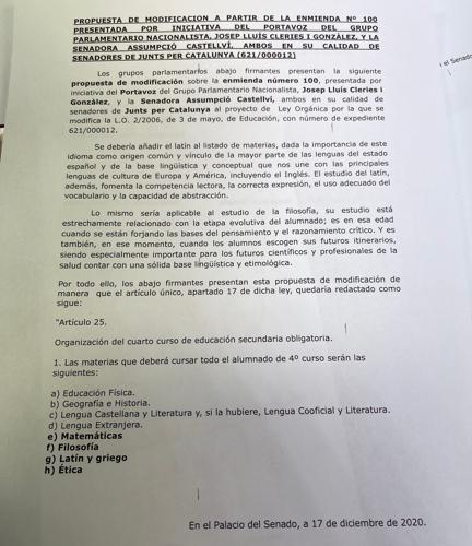 Proposal of Junts per Catalunya