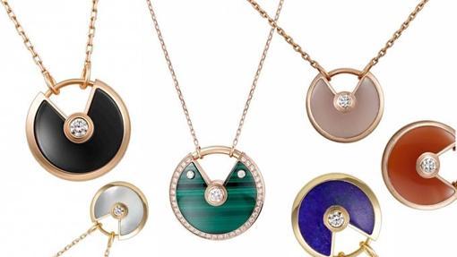 Collares Amulette, de oro, malaquita y diamantes
