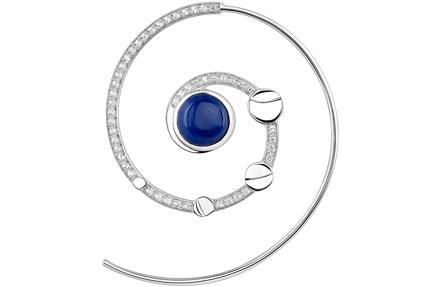 Pendiente espiral en plata de ley con lapislázuli y topacio (175€)