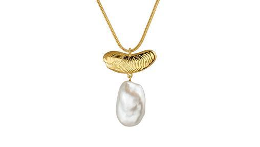 Collar escultórico con perla blanca natural (149€)