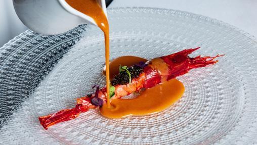 El carabinero en su esencia con caviar de Tatel