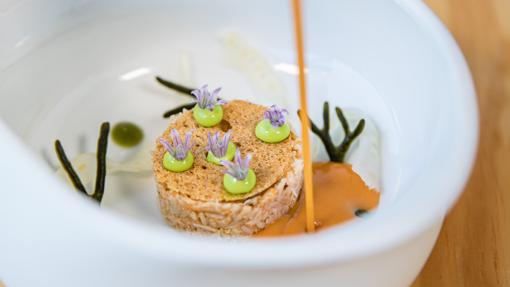 Sopa acidulada de crustáceos, txangurro e hinojo fermentado de Cobo Vintage