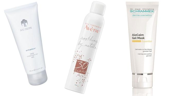 From left  Right: Nuskin Enhancer Moisturizing and Soothing Conditioning Gel (€ 22.19).  Avène Thermal Spring Water Spray, soothing and softening (€ 12).  Mask with anti-inflammatory effect Alocalm Gel Mask by Dra. Schrammek (€ 34)
