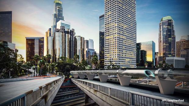 Maqueta del tren supersónico para la ciudad de Los Ángeles