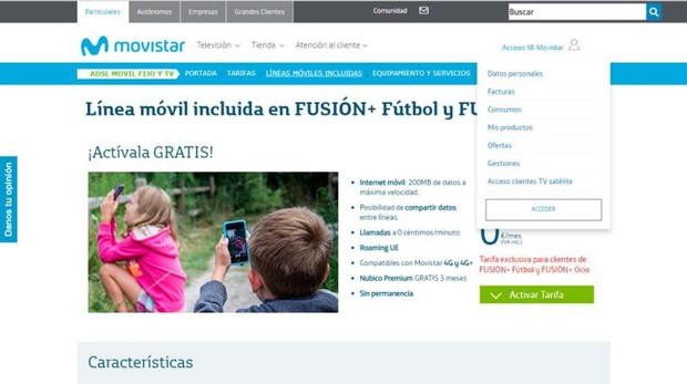 La plataforma de Movistar que se ha visto afectada por el fallo informático
