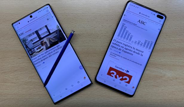 A la izzquierda, el nuevo Note 10 Plus; a la derecha, el S10 Plus