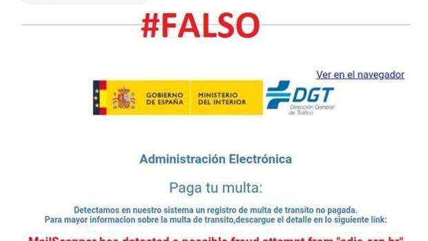 Cuidado con un falso email de la DGT que reclama el pago de una multa de tráfico