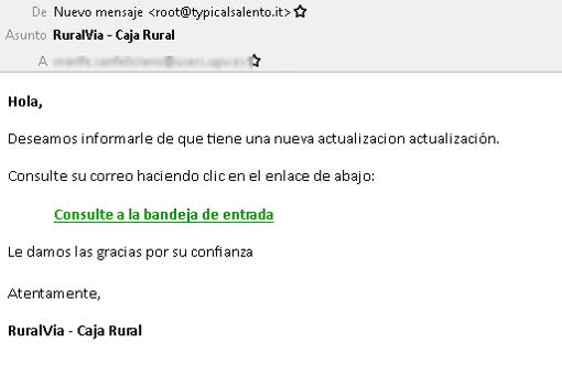 Un correo de «phishing» en el que los atacantes se hacen pasa por Caja Rural