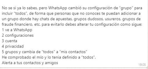 El mensaje que se está compartiendo en WhatsApp