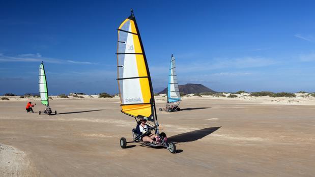«Landsailing» en las playas del Corralejo, Fuerteventura